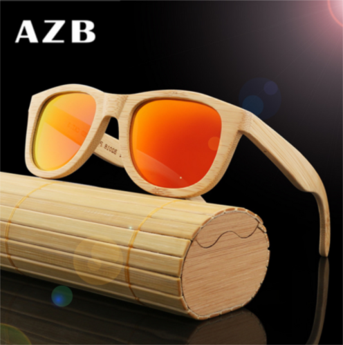 Handmade Natural Bamboo Wood Polarized Sunglasses Mirrored W