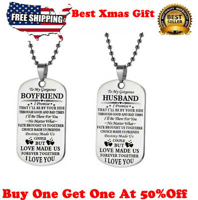 To My Boyfriend Husband Gift Couples pendant necklace Dog Tag Valentine's Day  ()