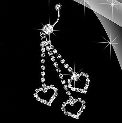 3 Heart Rhinestone Dangle Barbell Belly Button Navel Ring Bar Body Piercing  Crystal Heart Dangle Belly Ring