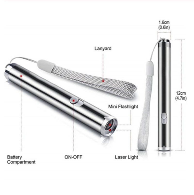 USA Stock Red Laser Pointer Pen 2 in 1 Cat Pet Toy AA Moon Lamp Mini Flashlight
