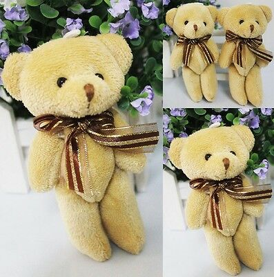 Mini Brown Ribbon Teddy Bear Soft Plush Stuffed Kids Toys Doll for Bouquet 12CM