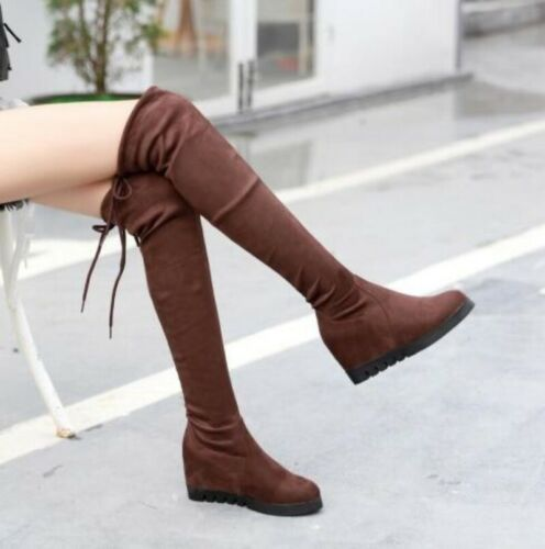 Details about  /Womens Med Hidden Heels Knee High Riding Slouch Boots Round Toe Shoes HOT A389