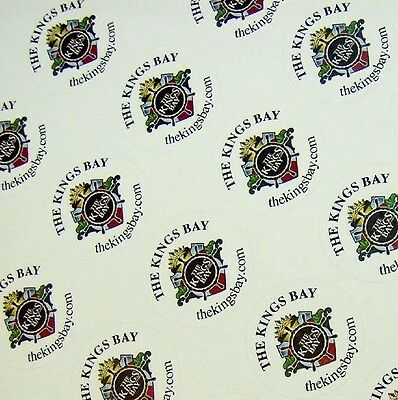 """Custom Printed Full Color 1"""" Round Labels 1000 Business Stickers White Removable"""