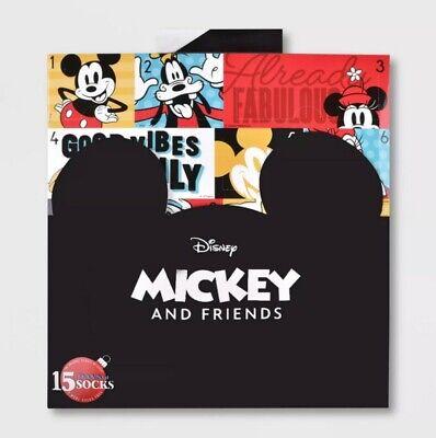Women's Mickey Mouse & Friends 15 Days of Socks Advent Calendar - Shoe Size 4-10