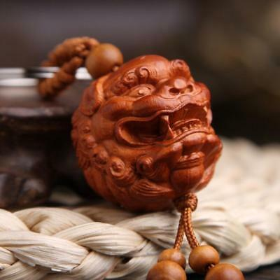 Asian China handcarved wood Carving lion pixiu head Pendant Key Chain statue