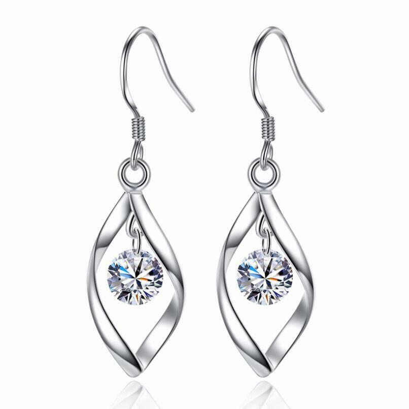 Jewellery - Womens Leaf Earrings Drop Dangle Hook 925 Sterling Silver Jewellery Round Long