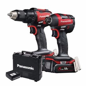 Panasonic EYC 217 18v Brushless Twin Pack Limited Red Edition Combi Drill, Impact Driver, 2x 5.0Ah