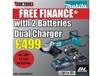 Makita DGA900PT2 Brushless Angle Grinder 230mm 36V Kit 2x 18v 5.0ah Batteries
