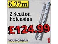 Youngman 570113 Trade 200 3.66-6.27m Aluminium 2 Section 12 Rung Extension Ladder