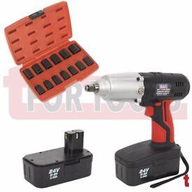 "Sealey CP2400MH Cordless Impact Wrench 24V 1/2""Sq Drive 441Nm 2x 2Ah Ni-MH + 13pc 1/2"" Socket Set"
