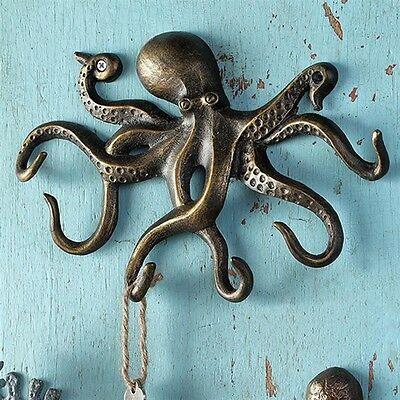 Swimming Octopus Key Hook--- Sea Life - Ocean - Hardware Incl.- Free Shipping!
