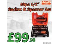 "BAHCO S400 40 PIECE SOCKET SET 1/2"" DRIVE COMPLETE WITH BAHCO SPANNER SET"