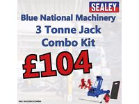 Sealey NA3290CX Trolley Jack 3 tonne Combo Axle Stands Breaker Bar Blue National