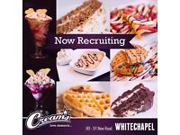 Creams Cafe premium desert parlour- Whitechapel E1- Presentable Waitress and Staff Required