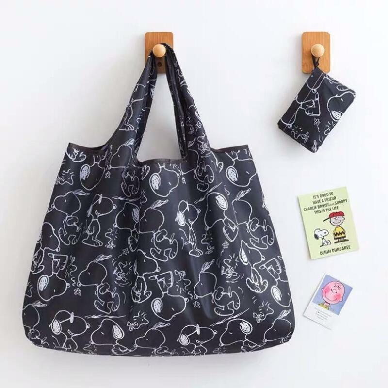 Cute Snoopy Folding Shopping Bag Eco-friendly Black Large Capacity Easy to Carry