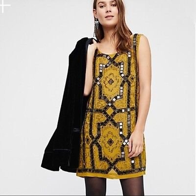 FREE PEOPLE SPEAK EASY Mustard FLAPPER SHIFT BEADED Mini Dress Sz 2 $168 NEW