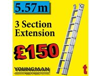 Youngman Trade 200 Aluminium 3 Section Extension Ladder working Height 6.05m 570121 2.5m - 5.57m