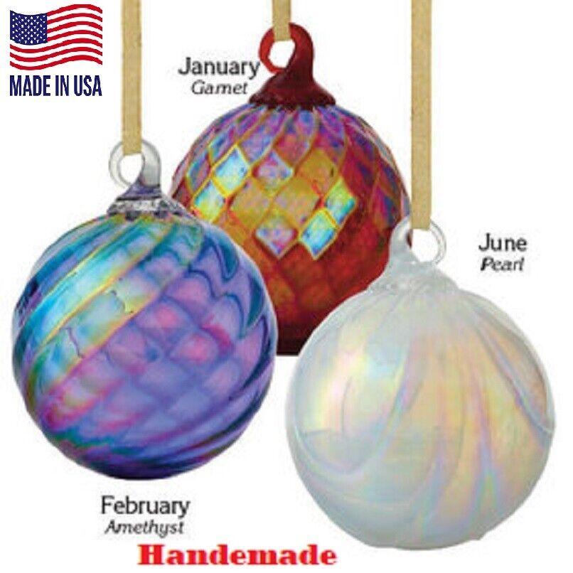 Birthstone Glass Ornament Decorative Birth Month Handmade Hand Blown Glass USA Holiday & Seasonal Décor