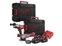 Milwaukee M18FPP2AA-503X FUEL Twin Pack M18FPD Combi + M18CAG115XPDB Grinder 18v Kit
