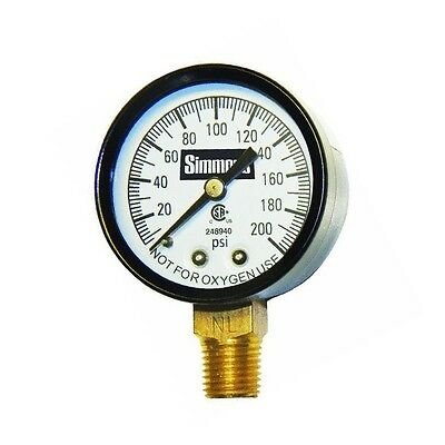 Simmons 1306 Well Pressure Gauge Air Steam Or Water 200 Psi 1 4  Connection