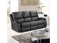PANTHER BLACK LEATHER 3 SEATER RECLINER SOFA - NO STAINS!