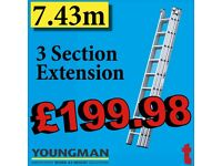 Youngman Aluminium Extension Ladder 3 Section 3.08-7.43m Safe working Height 7.68mTrade 200 570122