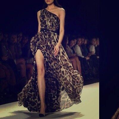 Badgley Mischka SILK ORGANZA LEOPARD ANIMAL PRINT ONE SHOULDER Maxi GOWN DRESS 2 ()