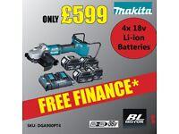 Makita DGA900PT4 Brushless Angle Grinder 230mm 36V Kit 4x 18v 5.0ah Batteries