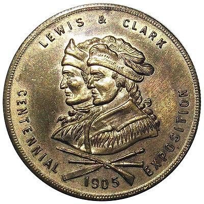 1905 Lewis & Clark Expo Medal, HK332a, Gilt Souvenir Token, Portland Oregon