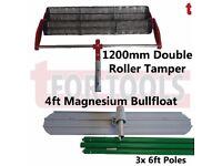 CONCRETE DOUBLE ROLLER TAMPER 1200MM & MAGNESIUM BULL FLOAT + KNUCKLEHEAD 3 POLES