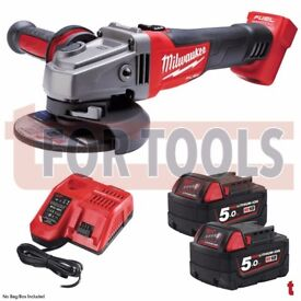 MILWAUKEE M18CAG115XPDB-502 115MM FUEL GRINDER 2X 5.0AH BATTERIES & CHARGER KIT