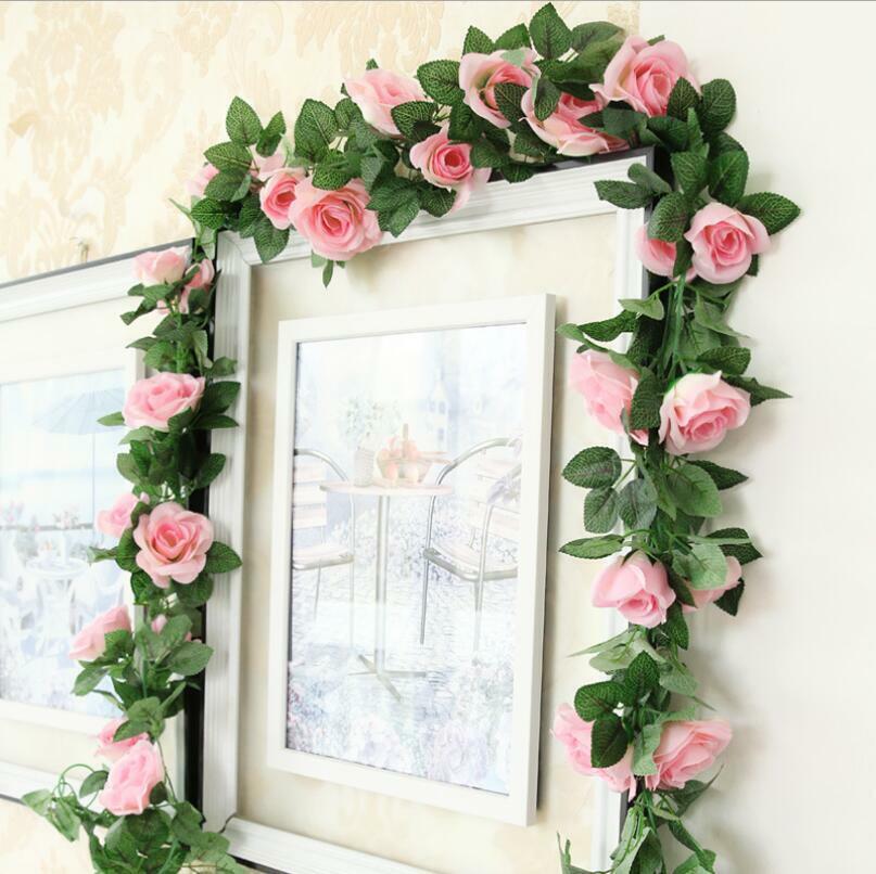 Home Decoration - 16Heads 7Ft Artificial Faux Silk Flower Rose Leaf Garland Vine Home Party Decor