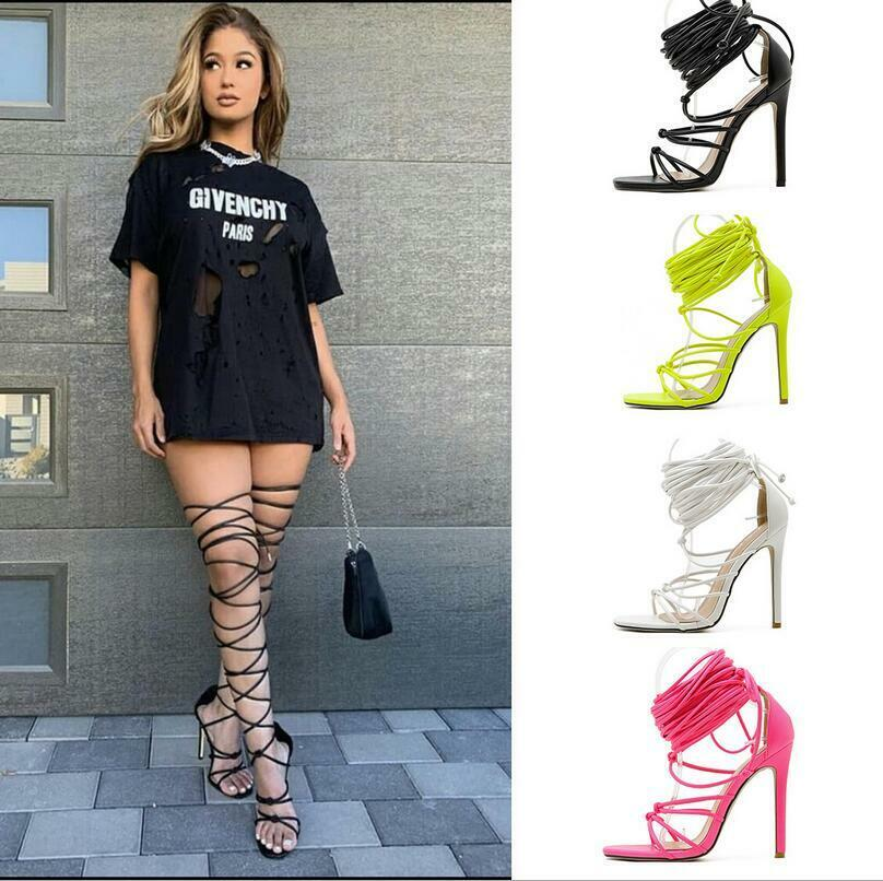 как выглядит Women gladiator knee high sandals open toe lace up cross strappy sandals фото