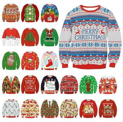 Mens Womens UGLY Christmas Sweater President Funny Xmas Knitted Pullover Top
