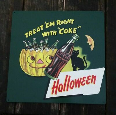 Halloween Coke Coca Cola advertisement metal Repro Sign 12x12 Black cat 50163](Coca Cola Halloween Advertising)