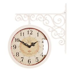 Antique Art Design Double Sided Wall Clock Station Clock Home Decor - CA(Ivory)