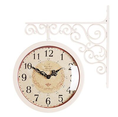 antique art design double sided wall clock station clock home decor caivory