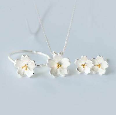 925 Sterling Silver SP Cherry Blossom Flower Jewelry Set: Necklace&Earring&Ring Necklace Earring Ring