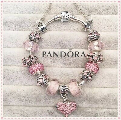 Authentic Pandora Charm Bracelet Silver Pink LOVE MOM with European Charms