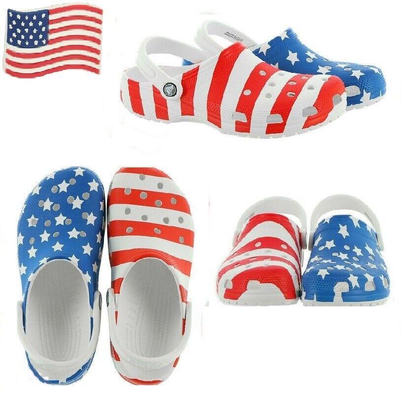 Crocs Classic American Flag Clogs Men 7, 9, 10, 11, 12, 13 NWT Stars and Stripes