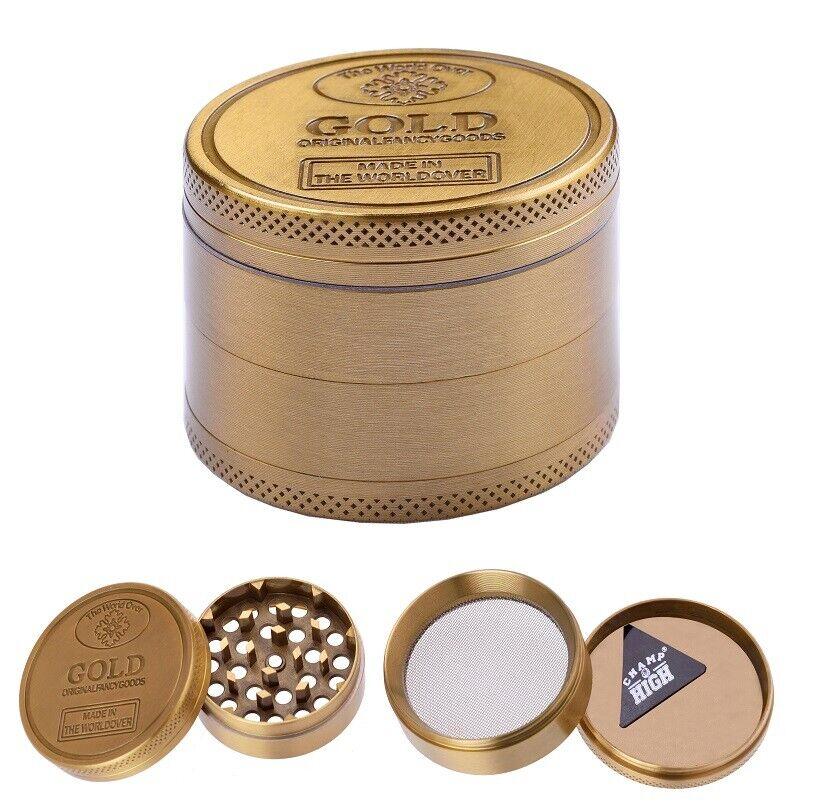 DE 40mm Grinder Crusher Tabak Gewürzmühle Alu Kräutermühle 4 teilig mit Feinsieb