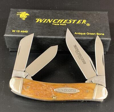 1998 WINCHESTER 4949 ANTIQUE GREEN BONE FOUR BLADE SOWBELLY POCKET KNIFE