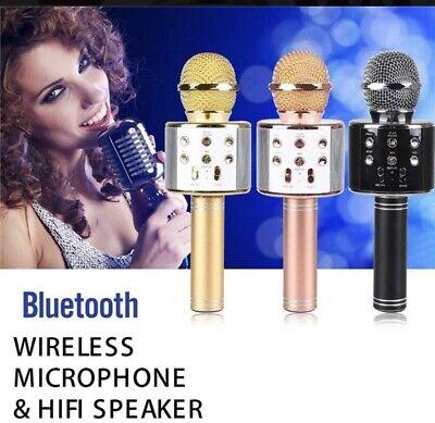 WS-858-1 Wireless Bluetooth Karaoke Microphone Stereo Mic KTV USB Speaker Player