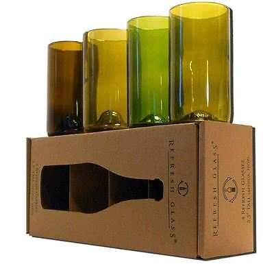 Recycled Wine Bottle Glasses  Set of 8 - 16 ounce  Kitchen Home Bar Tumbler Cup