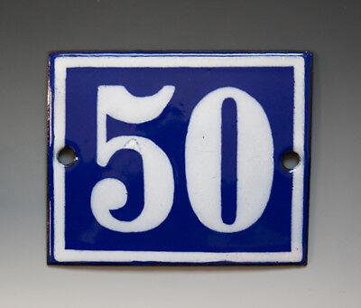 EMAILLE, EMAIL-HAUSNUMMER 50 in BLAU/WEISS um 1950