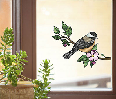 Chickadee Glass - CLR:WND - Chickadee Bird Stained Glass Vinyl Window Decal ©YYDC (CHOOSE SIZE)