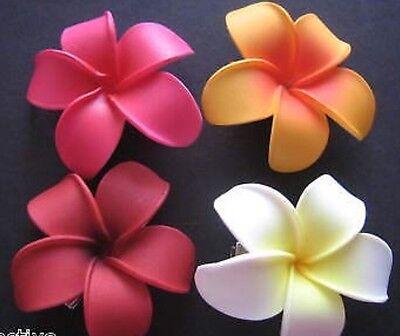 Hawaiian Foam PLUMERIA Flower Hair CLIP Red Pink White Orange Luau Wedding Party ()