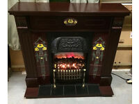 Victorian style electric fire and surround