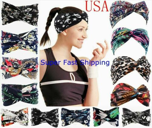 2021 Bandana Headband Elastic Hairband Women Yoga Boho Twisted HeadWrap HairBand