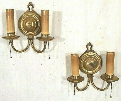 """BRASS SCONCE BACK or LAMP BASE 3 7//8/"""" RIBBED ROUND CUP CRAFT HOBBY PART"""